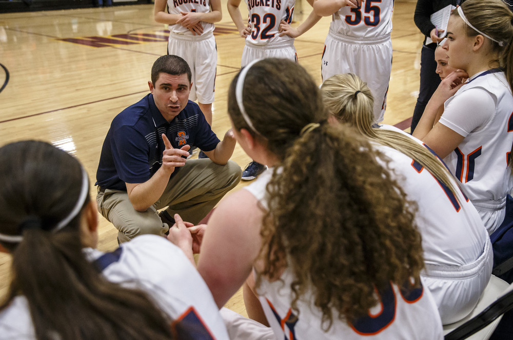 Rochester girls basketball head coach J.R. Boudouris talks to his team prior the Rockets taking on Lincoln in the during the Class 3A Clinton Sectional semifinals at Clinton High School, Monday, Feb. 22, 2016, in Clinton, Ill. Justin L. Fowler/The State Journal-Register