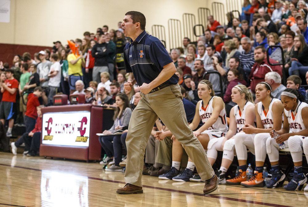 Rochester girls basketball head coach J.R. Boudouris reacts after Lincoln scores a basket against Rochester in the second quarter during the Class 3A Clinton Sectional semifinals at Clinton High School, Monday, Feb. 22, 2016, in Clinton, Ill. Justin L. Fowler/The State Journal-Register