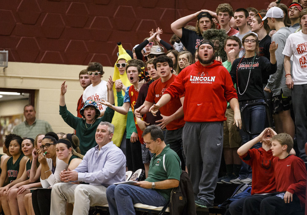 Lincoln fans react after a foul call against the Railsplitters as they take on Rochester in the third quarter during the Class 3A Clinton Sectional semifinals at Clinton High School, Monday, Feb. 22, 2016, in Clinton, Ill. Justin L. Fowler/The State Journal-Register