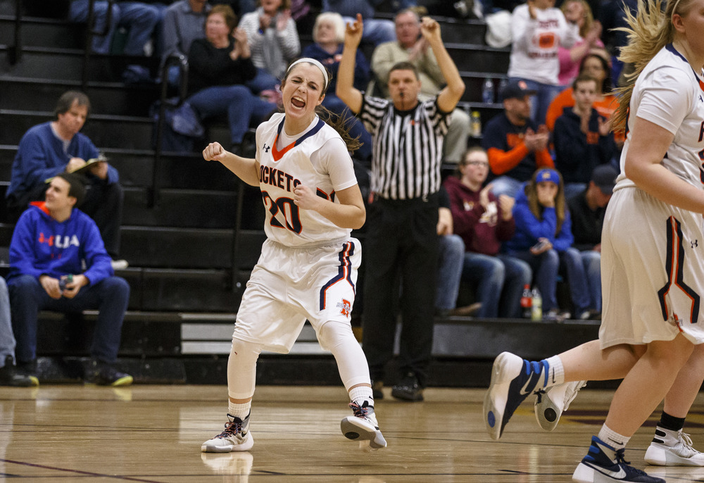 Rochester's Aubrey Magro (20) reacts after hitting a 3-pointer against Lincoln in the fourth quarter during the Class 3A Clinton Sectional semifinals at Clinton High School, Monday, Feb. 22, 2016, in Clinton, Ill. Justin L. Fowler/The State Journal-Register