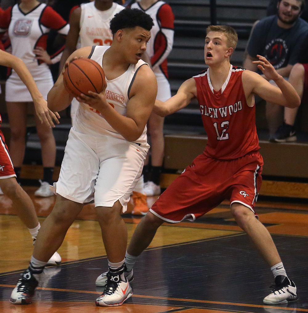 Lanphier's William Boles tries to get around Glenwood defender Karson Aherin. David Spencer/The State Journal Register