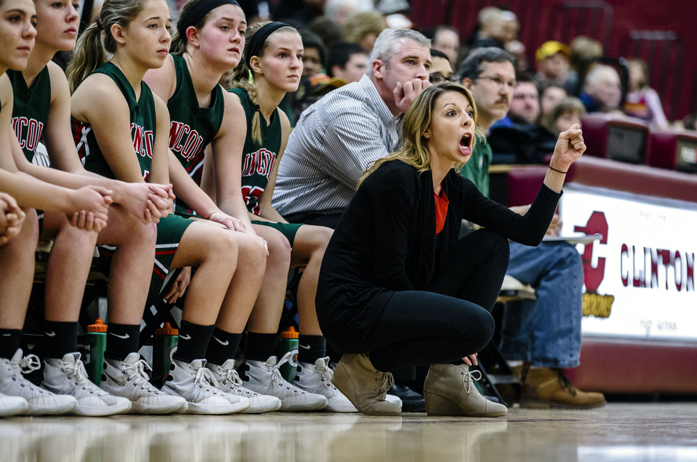 Lincoln girls basketball head coach Taylor Richmond screams out at her team as they take on Champaign St. Thomas More in the second quarter during the Class 3A Clinton Sectional championship game at Clinton High School, Thursday, Feb. 25, 2016, in Clinton, Ill. Justin L. Fowler/The State Journal-Register