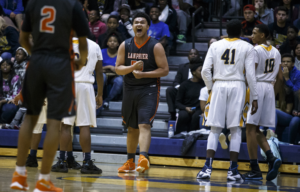 Lanphier's William Boles (50) reacts after making a shot and drawing the foul against Southeast in the first half at Herb Scheffler Gymnasium, Friday, Feb. 26, 2016, in Springfield, Ill. Justin L. Fowler/The State Journal-Register