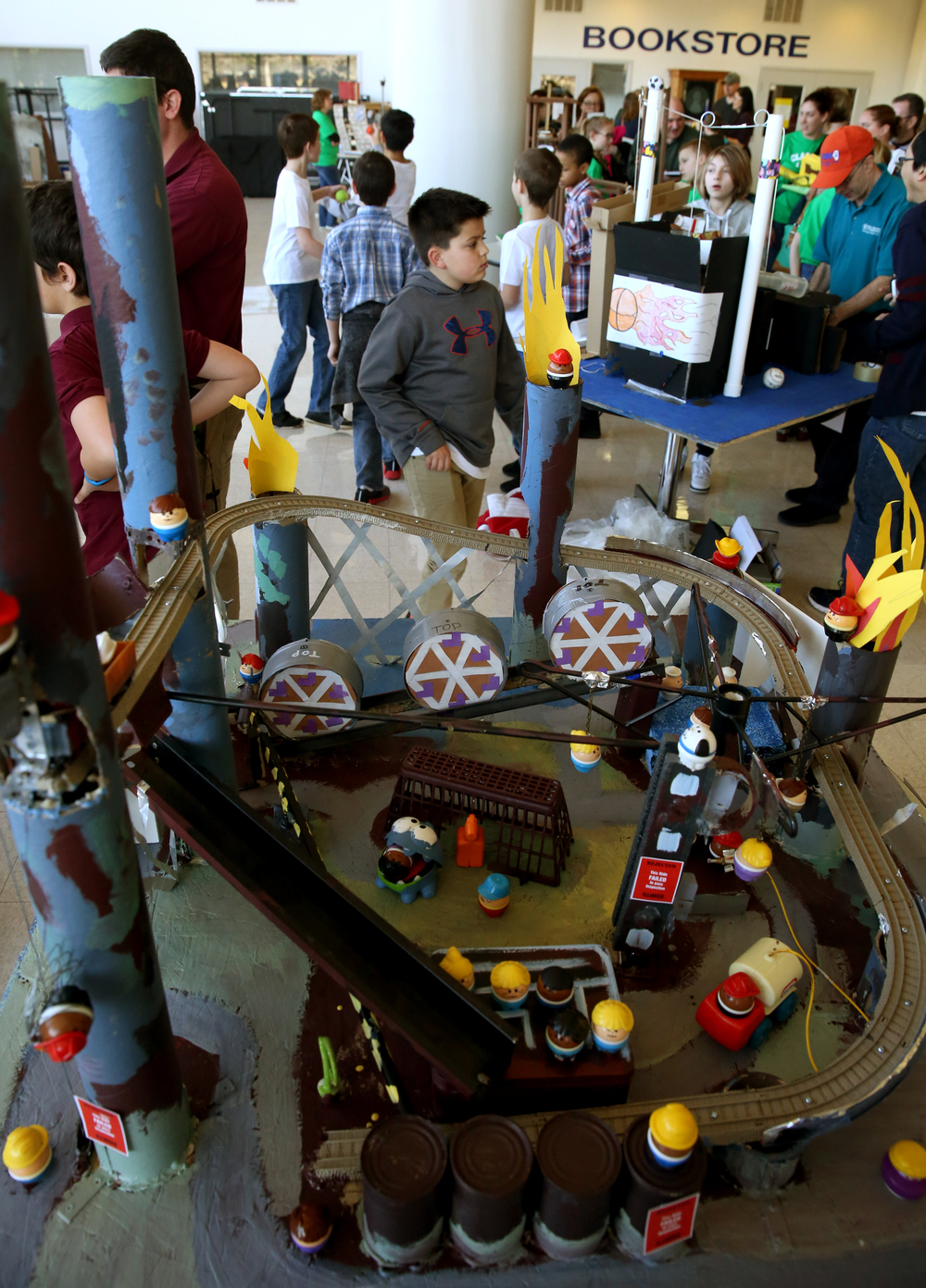 Dragon's Demise, an amusent park-themed Rube Goldberg machine built by a team of fifth grade students from Dubois Elementary, was on display in the Student Union at LLCC where the competition was taking place on Saturday. David Spencer/The State Journal Register