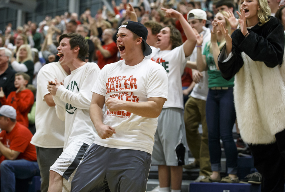 Lincoln fans react to a foul call and a basket for the Railsplitters against Highland in the third quarter during the Class 3A UIS Supersectional at The Recreation and Athletic Center on the UIS campus, Monday, Feb. 29, 2016, in Springfield, Ill. Justin L. Fowler/The State Journal-Register