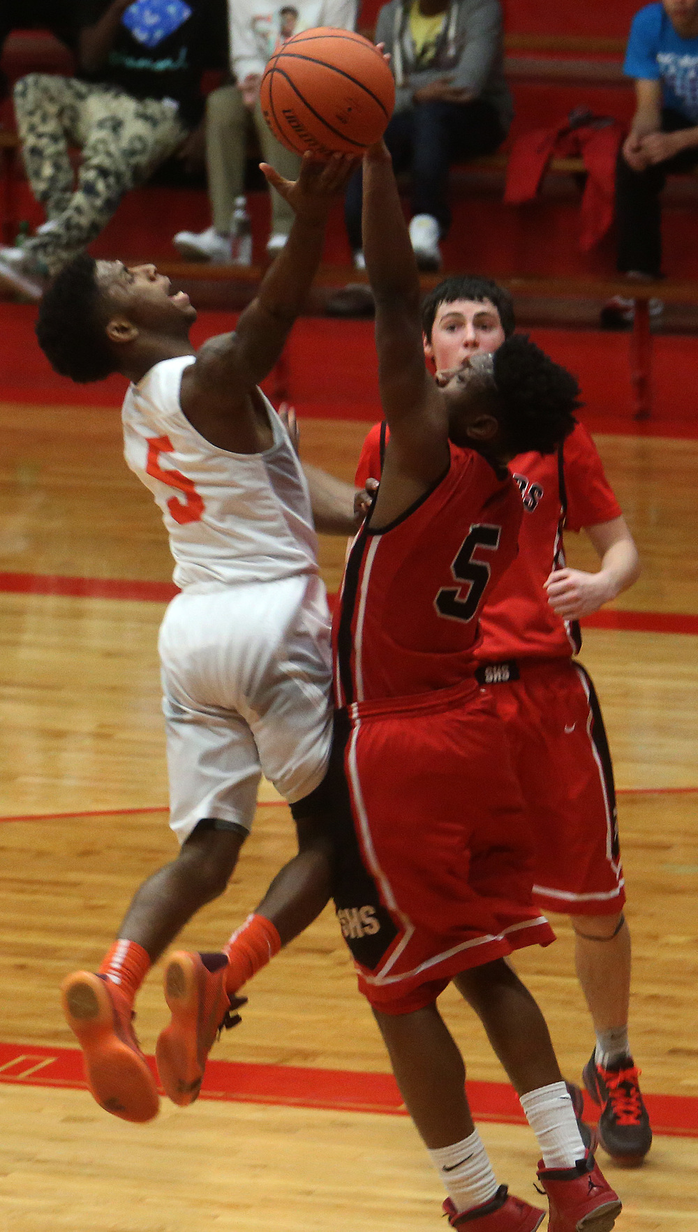 Lanphier's Xavier Bishop puts up two points in the first half. David Spencer/The State Journal Register