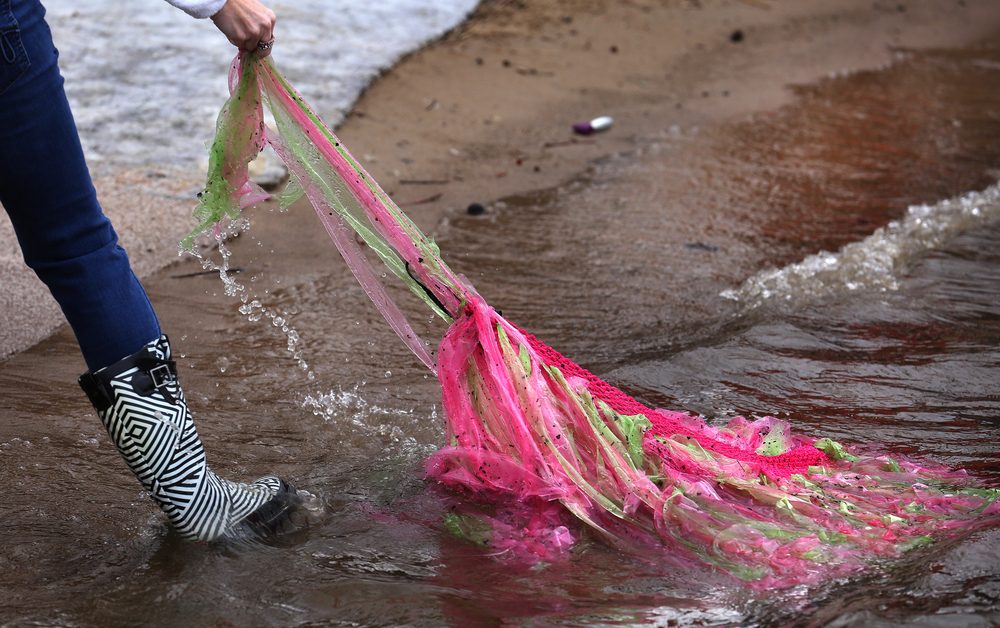 The frigid waters apparently only claimed one victim Saturday afternoon: a pink tutu pulled out here by a volunteer. David Spencer/The State Journal Register