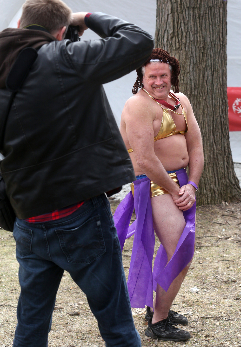 Francis Drnjevic of Girard was a popular subject for those taking photos before the start of the plunge. David Spencer/The State Journal Register