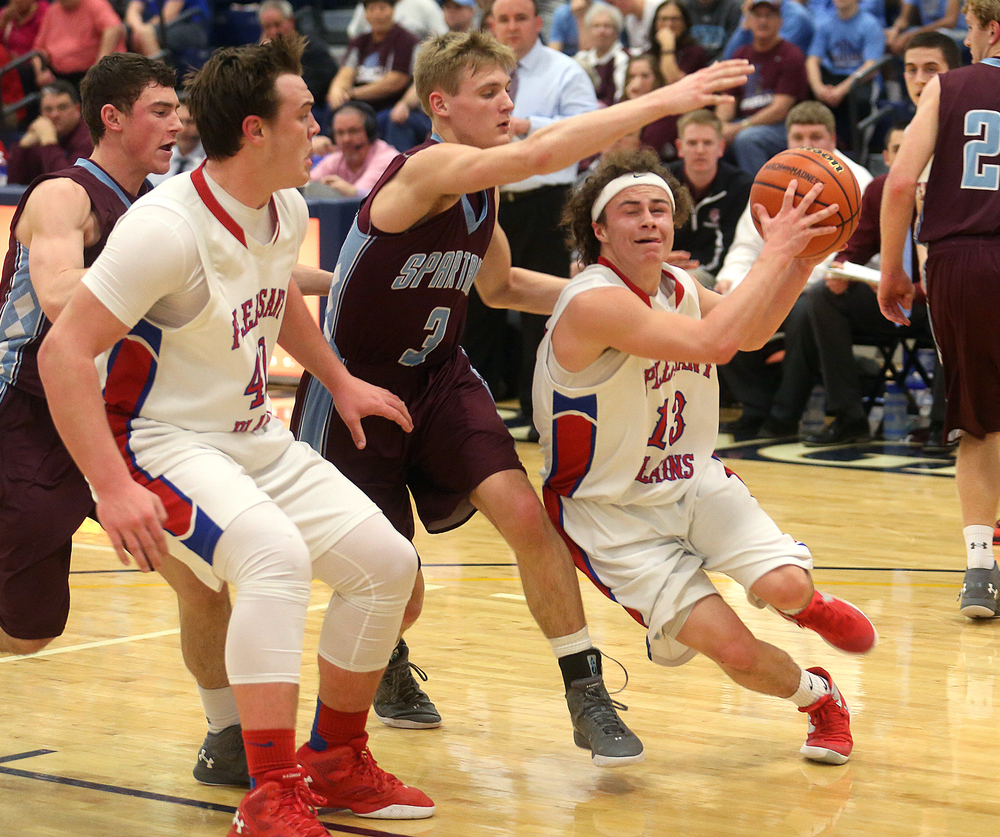 Pleasant Plains player Cole Greer drives around St. Joseph defender Brandon Trimble during first half action. David Spencer/The State Journal Register