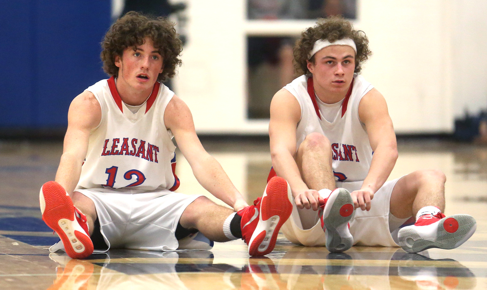 Pleasant Plains players Daulton Nibbe at left and Cole Greer prepare for the start of the second half. David Spencer/The State Journal Register
