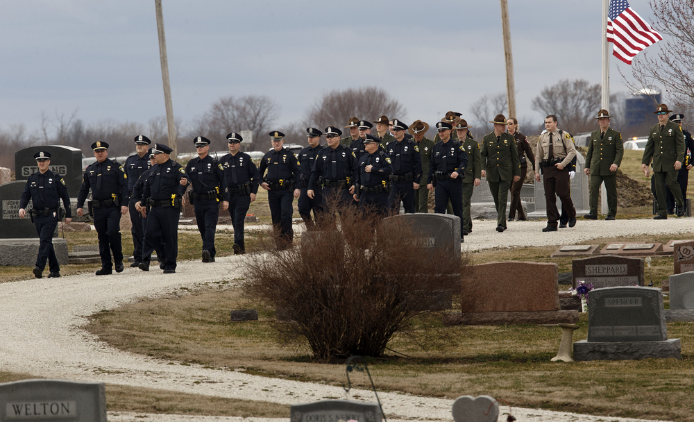 Police officers from around central Illinois gathered for South Jacksonville Police Officer Francis Scot Fitzgerald's funeral at the Murrayville Village Cemetery Wednesday, March 9, 2016. Officer Fitzgerald was killed in a car accident while on duty last week. Ted Schurter/The State Journal-Register