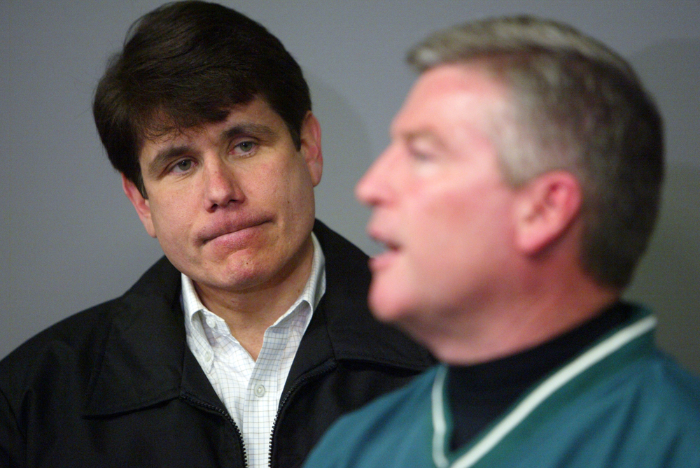 Gov. Rod Blagojevich and Springfield Mayor Tim Davlin address the media at the Illinois Emergency Management Agency before touring the damaged areas March 13, 2006. Ted Schurter/The State Journal-Register