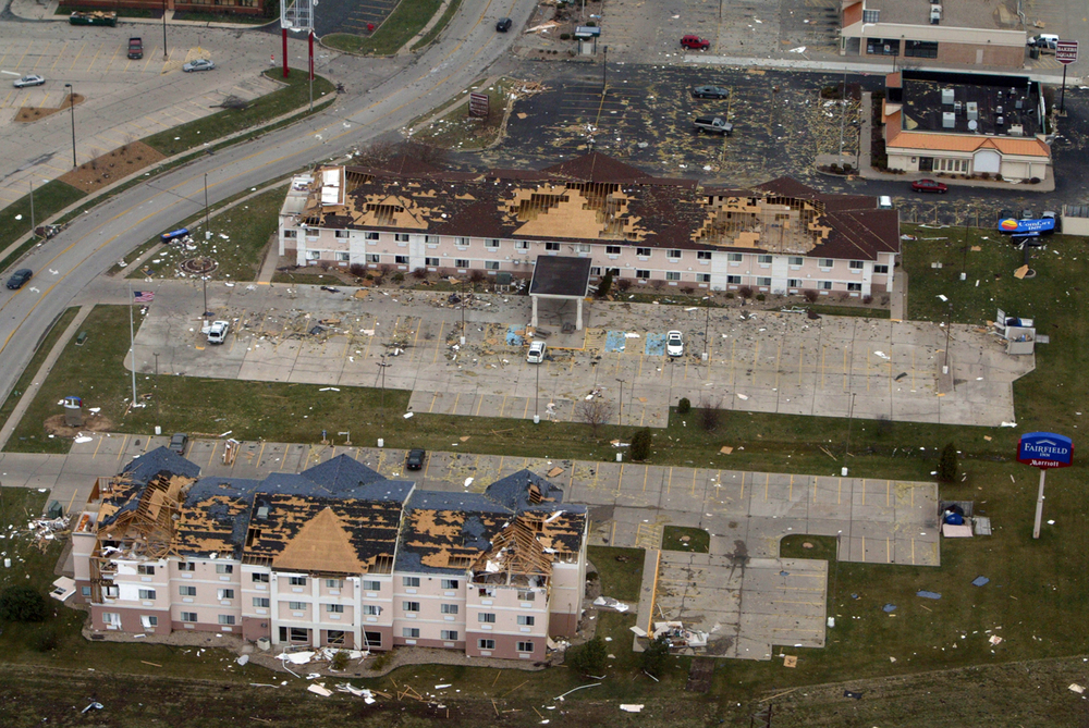 The Fairfield Inn at 3446 Freedom Drive, and the Comfort Inn at 3442 Freedom Drive, were damaged by a tornado that ripped through Springfield, March 12, 2006. Ted Schurter/The State Journal-Register