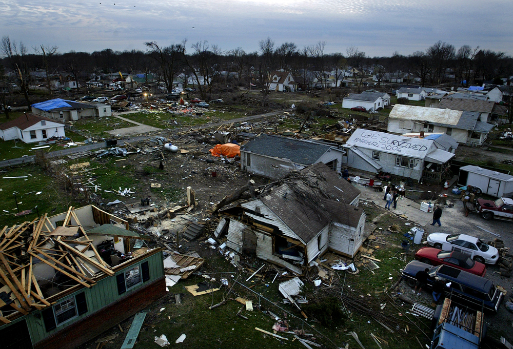 The tornado's path is seen looking to the southwest from above Cedar Street Wednesday, March 15, 2006. File/Jonathan Kirshner/The State Journal-Register
