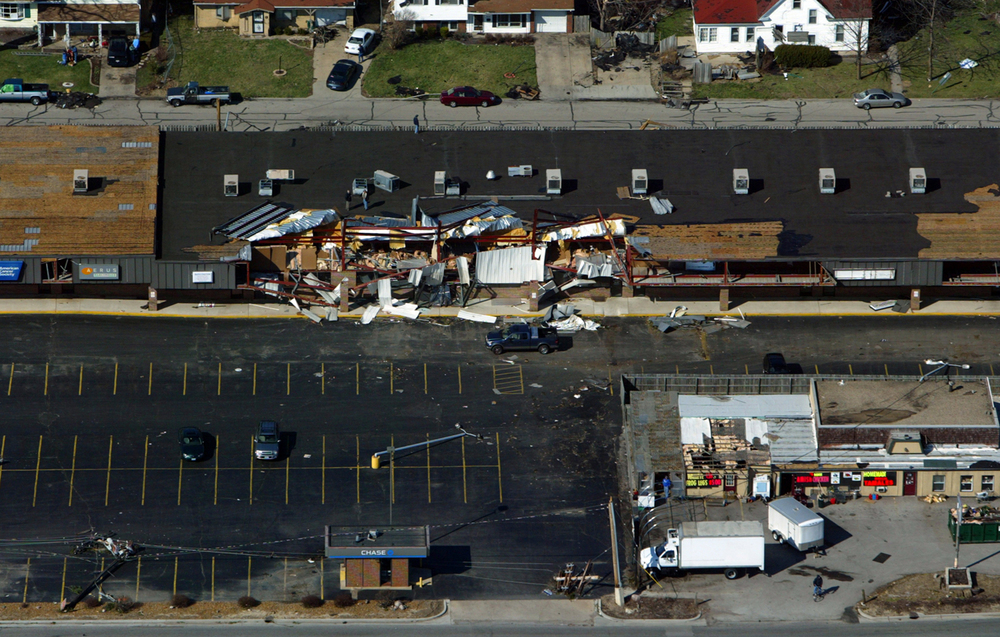 A shopping center in the 1300 block of Wabash Avenue was heavily damaged.  File/Ted Schurter/The State Journal-Register