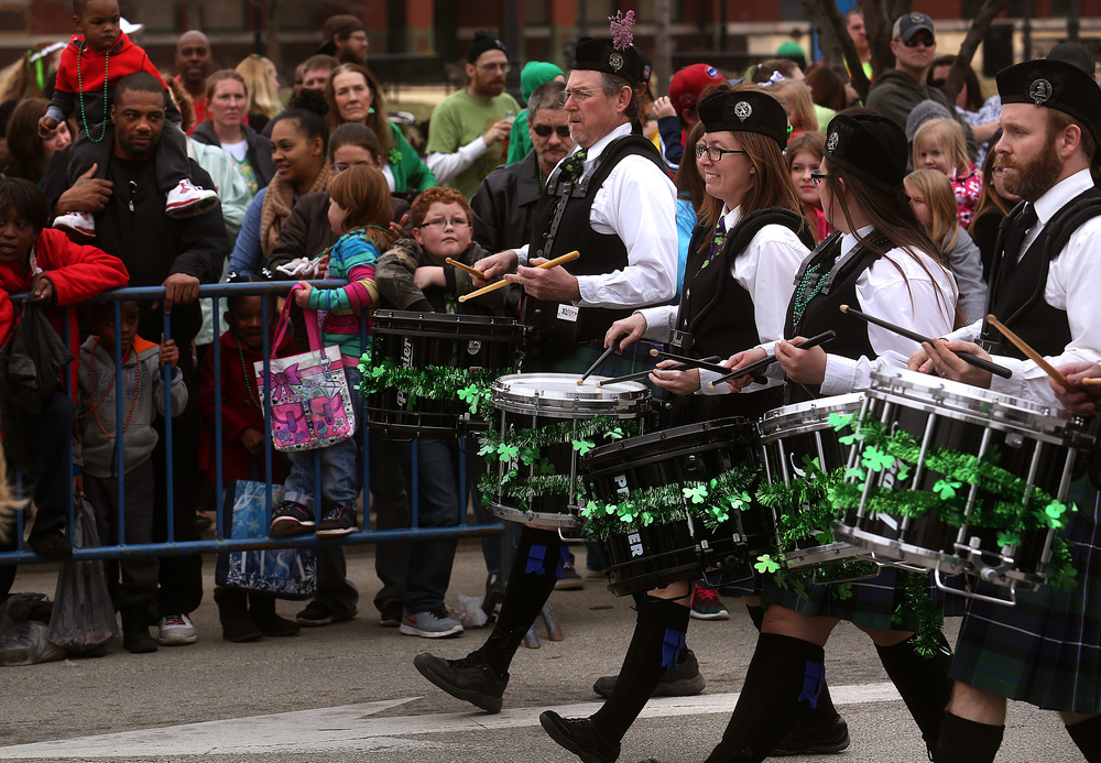 St. Andrew's Society of Central Illinois drummers march in the parade Saturday. David Spencer/The State Journal Register