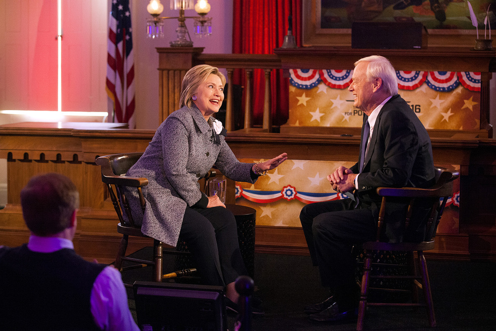 Democratic presidential candidate Hillary Clinton reminds MSNBC Host Chris Matthews that she won the Iowa cauceses after he mistakenly said she had not during the taping of a town hall meeting hosted by the cable TV network at the Old State Capitol State Historic Site in Springfield, Ill. Monday, March 14, 2016. Rich Saal/The State Journal-Register