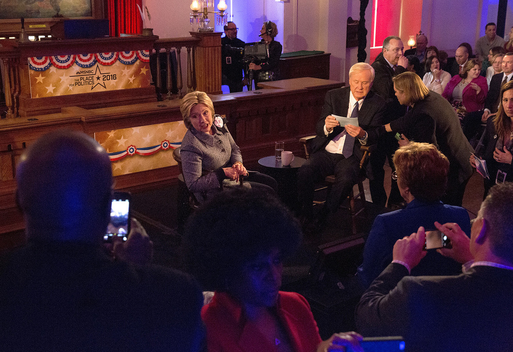 Democratic presidential candidate Hillary Clinton talks with audience members during a break in the taping of a town hall meeting hosted by MSNBC and Chris Matthews at the Old State Capitol State Historic Site in Springfield, Ill. Monday, March 14, 2016. Rich Saal/The State Journal-Register