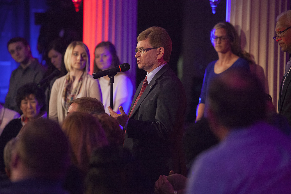 Springfield Mayor Jim Langfelder asks a question during the taping of a town hall meeting with Democratic presidential candidate Hillary Clinton hosted by MSNBC at the Old State Capitol State Historic Site in Springfield, Ill. Monday, March 14, 2016. Rich Saal/The State Journal-Register
