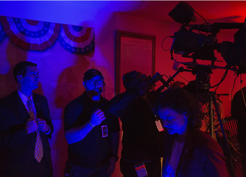 Security and technicians work behind the scenes of the town hall meeting hosted by MSNBC with Democratic presidential candidate Hillary Clinton at the Old State Capitol State Historic Site in Springfield, Ill. Monday, March 14, 2016. Rich Saal/The State Journal-Register