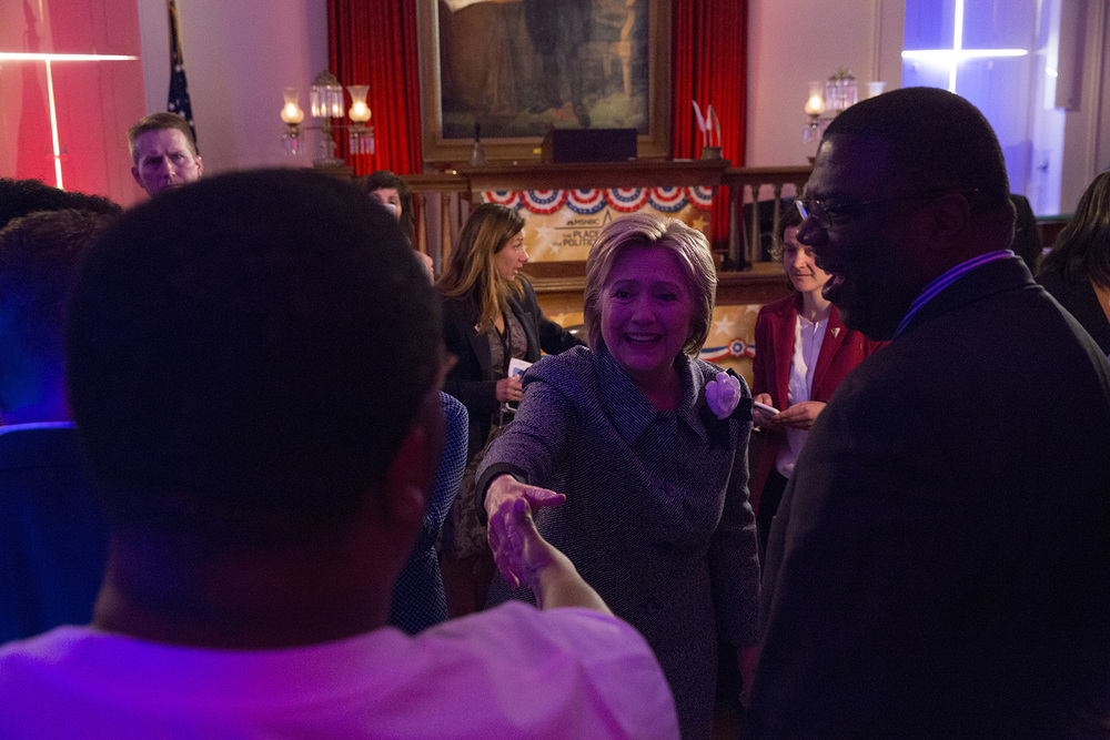 Democratic presidential candidate Hillary Clinton greets audience members after a taping of a town hall meeting hosted by MSNBC at the Old State Capitol State Historic Site in Springfield, Ill. Monday, March 14, 2016. Rich Saal/The State Journal-Register