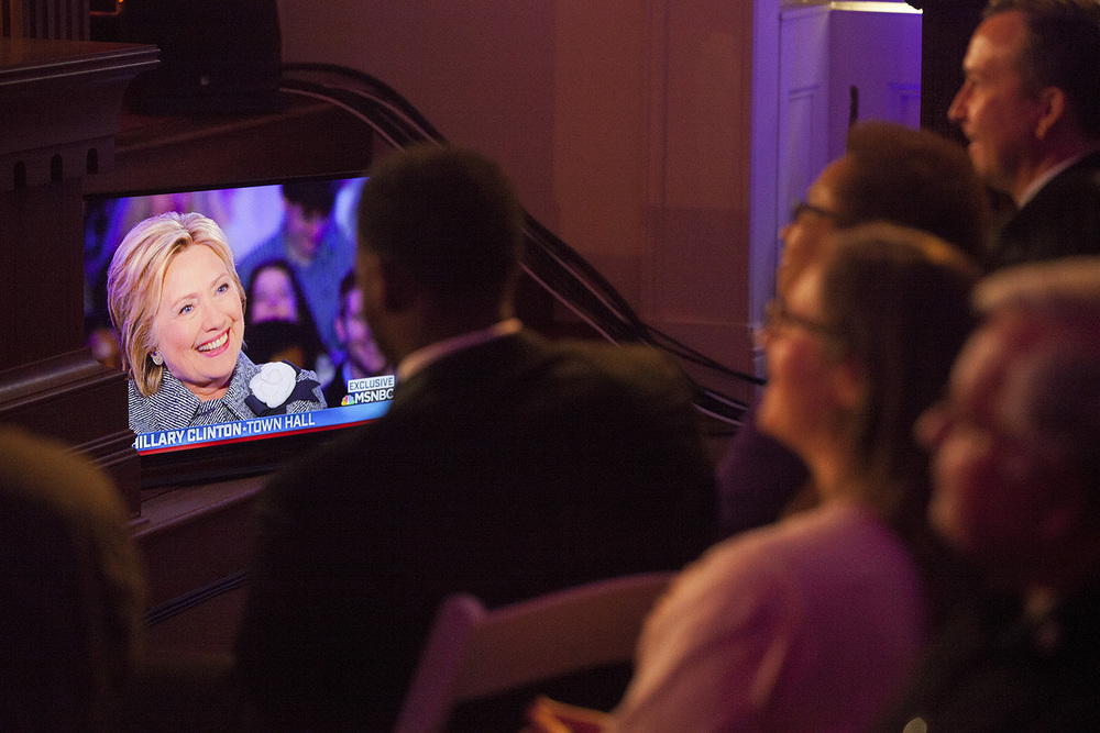 A monitor allows audience members to see what's being recorded during the taping of a town hall meeting with Democratic presidential candidate Hillary Clinton hosted by MSNBC at the Old State Capitol State Historic Site in Springfield, Ill. Monday, March 14, 2016. Rich Saal/The State Journal-Register