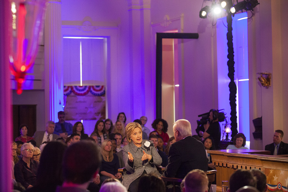 Democratic presidential candidate Hillary Clinton talks with MSNBC Host Chris Matthews during an MSNBC Clinton Town Hall at the Old State Capitol State Historic Site in Springfield, Ill. Monday, March 14, 2016. Rich Saal/The State Journal-Register
