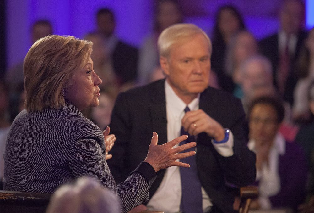 Democratic presidential candidate Hillary Clinton answers a question from an audience member during the taping of a town hall meeting with MSNBC and host Chris Matthews at the Old State Capitol State Historic Site in Springfield, Ill. Monday, March 14, 2016. Rich Saal/The State Journal-Register