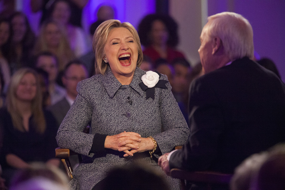 Democratic presidential candidate Hillary Clinton responds with laughter to a question during a conversation with MSNBC Host Chris Matthews during the taping of a town hall meeting hosted by the cable TV network at the Old State Capitol State Historic Site in Springfield, Ill. Monday, March 14, 2016. Rich Saal/The State Journal-Register