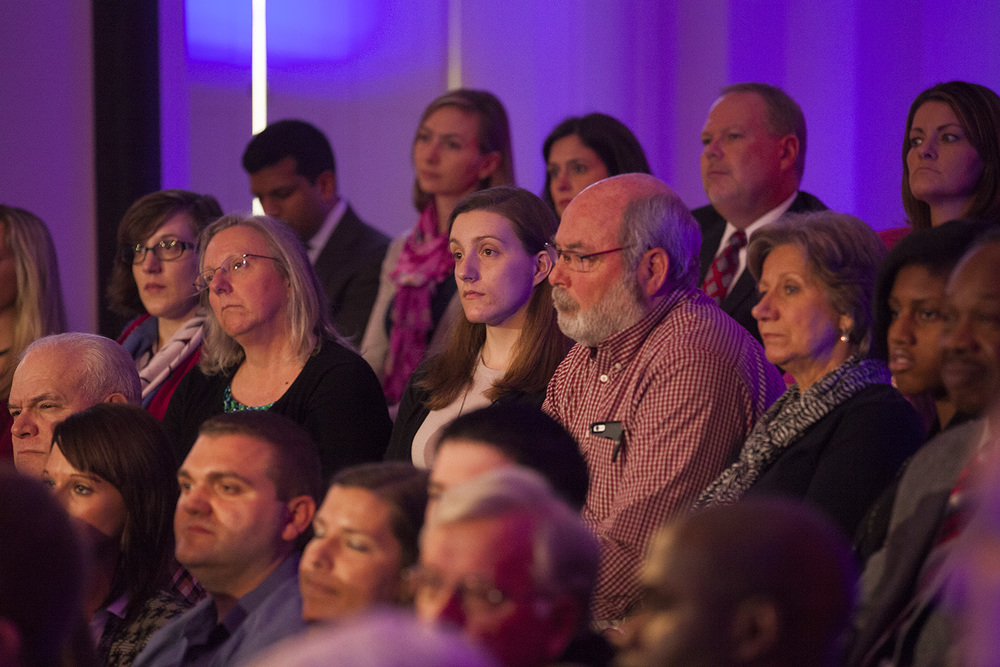 Audience members listen to Democratic presidential candidate Hillary Clinton during the taping of a town hall meeting hosted by the cable TV network MSNBC at the Old State Capitol State Historic Site in Springfield, Ill. Monday, March 14, 2016. Rich Saal/The State Journal-Register