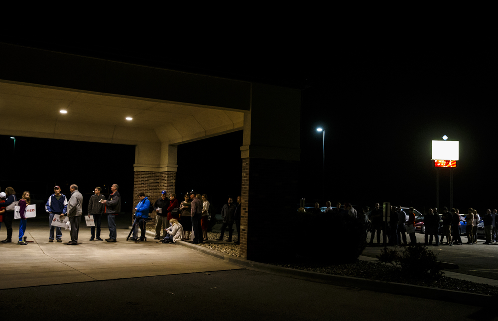 A line begins to form at the entrance to the iWorship Center for a campaign rally with Republican presidential candidate, Sen. Ted Cruz, R-Texas, at the iWorship Center, Monday, March 14, 2016, in Springfield, Ill. Cruz finished the last of his five stops across Illinois in Springfield the day before the primary. Justin L. Fowler/The State Journal-Register