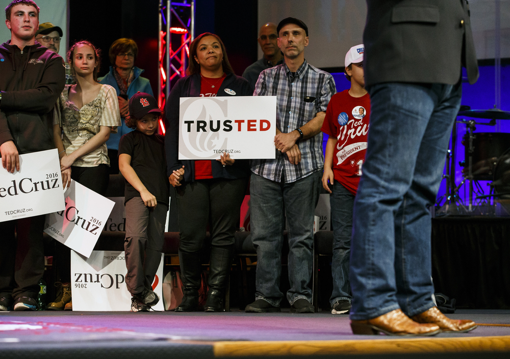 Attendees watch as Republican presidential candidate, Sen. Ted Cruz, R-Texas, speaks during a campaign rally at the iWorship Center, Monday, March 14, 2016, in Springfield, Ill. Cruz finished the last of his five stops across Illinois in Springfield the day before the primary. Justin L. Fowler/The State Journal-Register