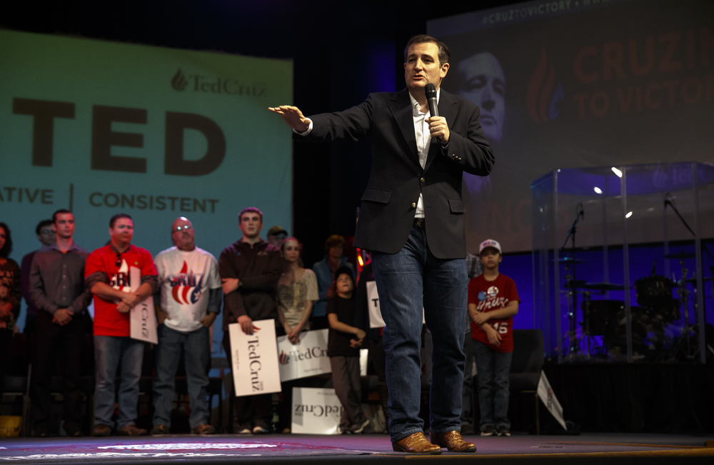 Republican presidential candidate, Sen. Ted Cruz, R-Texas, speaks during a campaign rally at the iWorship Center, Monday, March 14, 2016, in Springfield, Ill. Cruz finished the last of his five stops across Illinois in Springfield the day before the primary. Justin L. Fowler/The State Journal-Register