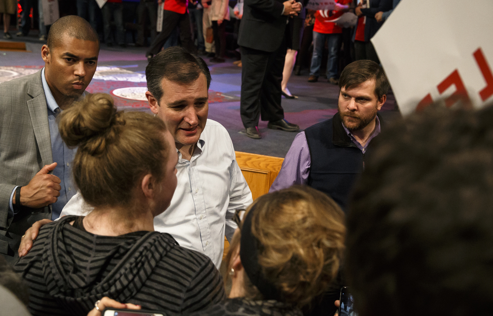 Republican presidential candidate, Sen. Ted Cruz, R-Texas, stops to sign autographs and shake hands with supporters after giving his speech during a campaign rally at the iWorship Center, Monday, March 14, 2016, in Springfield, Ill. Cruz finished the last of his five stops across Illinois in Springfield the day before the primary. Justin L. Fowler/The State Journal-Register