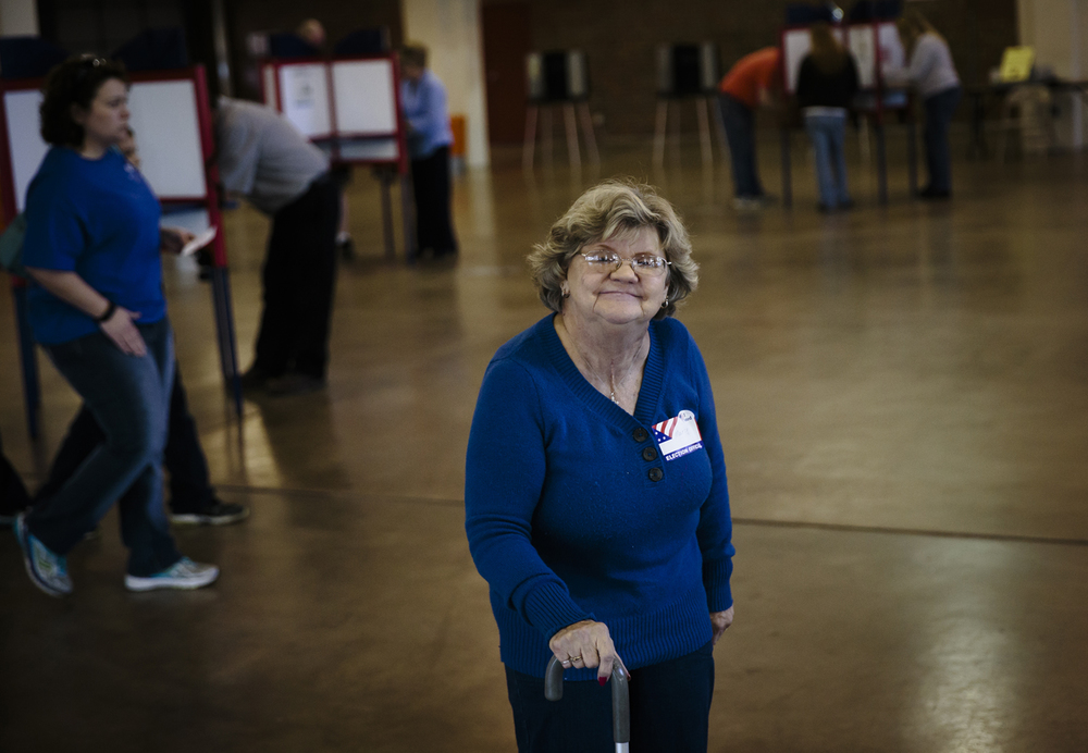 Marcy Aldridge has been an election worker for over twenty years and was helping voters cast their ballots for the Illinois primary at the Illinois Building on the Illinois State Fairgrounds, Tuesday, March 15, 2016, in Springfield, Ill. Justin L. Fowler/The State Journal-Register