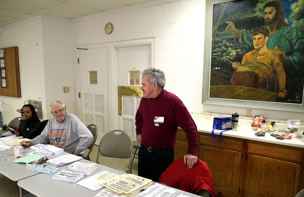 In the polling place in the fellowship hall at First 
