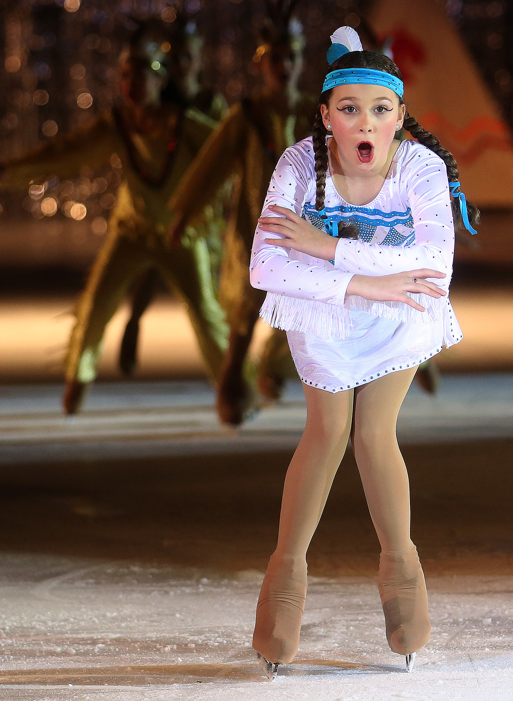 During the Peter Pan segment of the show, Tiger Lily performed by skater Alaina Ford reacts during Saturday's matinee performance. David Spencer/The State Journal Register