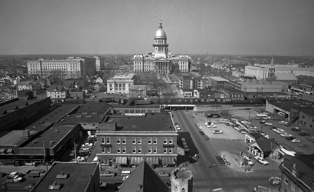 Train derailment, Alton Railroad, RR, rooftop aerial from Abraham Lincoln Hotel, looking west toward Fourth Street, State Capitol, Supreme Court building, Central Illinois Light Company (CILCO), March 23, 1963. File/The State Journal-Register