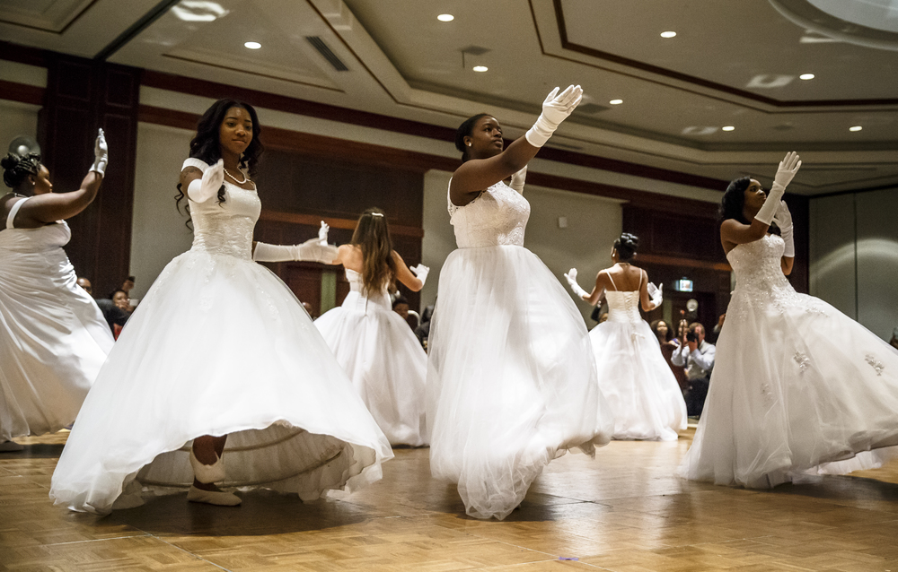 The Debutantes perform their opening piece of choreography during Alpha Kappa Alpha Sorority Nu Omicron Omega Chapter's 18th Annual Debutante Cotillion Fashionetta 2016 at the Crowne Plaza Hotel, Saturday, March 26, 2016, in Springfield, Ill. Justin L. Fowler/The State Journal-Register