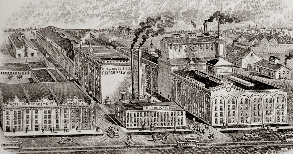"This drawing of the Reisch Brewing company, with Rutledge St. seen at the bottom, was included on company letterhead from around 1903. According to the Reisch Brewing website, the ""brewery never had all of the buildings shown in this picture. It is an artist's conception of what the brewery might have looked like if it had continued expanding. The actual collection of brewery buildings was impressive enough. It included a 5-story brick icehouse, a 3-story malt house of 100,000 bushels capacity, stables for 48 horses, and numerous other buildings."" Photograph of drawing courtesy Sangamon Valley Collection at Lincoln Library"