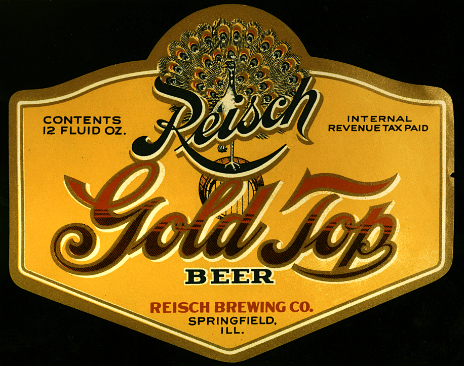 This Reisch Gold Top Beer label believed to date to the 1950's incorporates a peacock with it's feathers fanned out along with the Reisch logo. File/The State Journal-Register