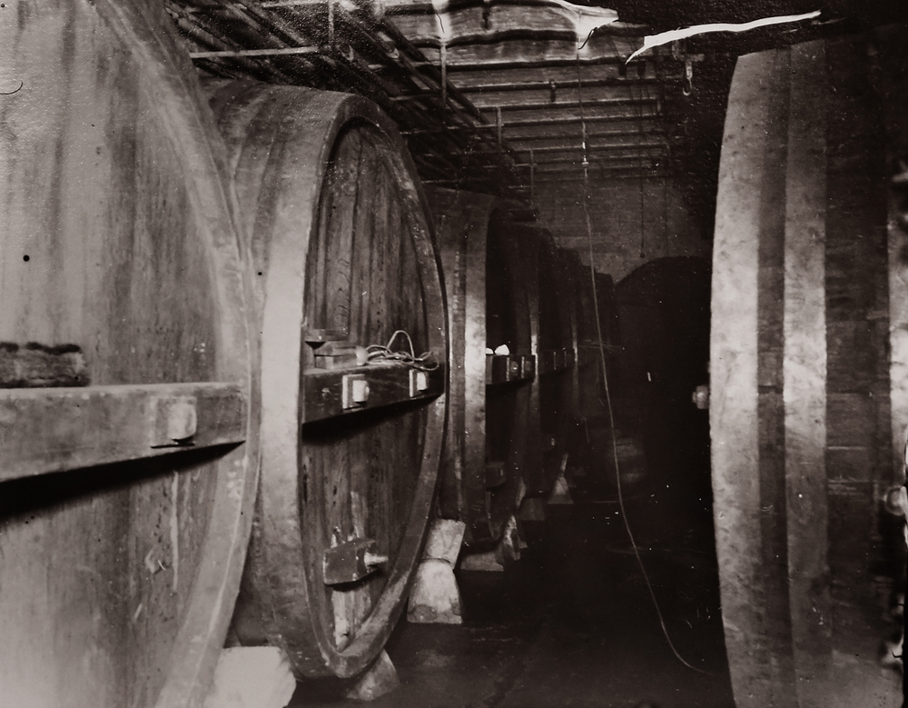 These large wooden storage and aging casks at the Reisch Brewery taken sometime after Prohibition could each hold 1600 gallons of beer. Photograph courtesy Sangamon Valley Collection at Lincoln Library