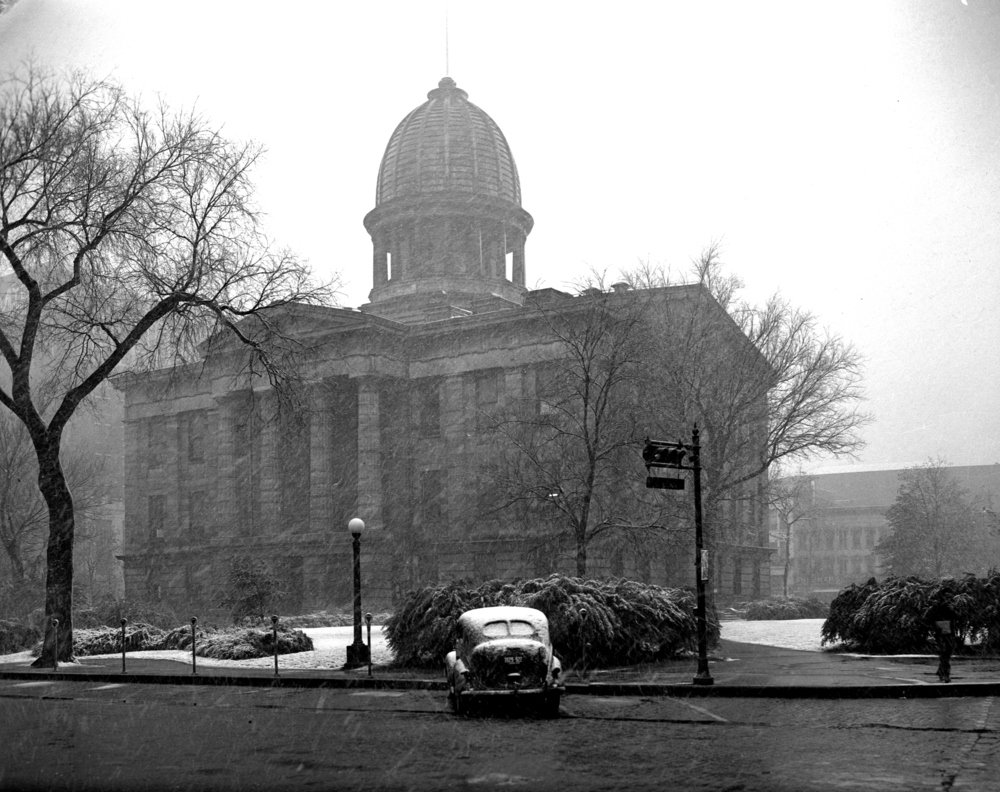 Snowfall and Old State Capitol, October 16, 1945