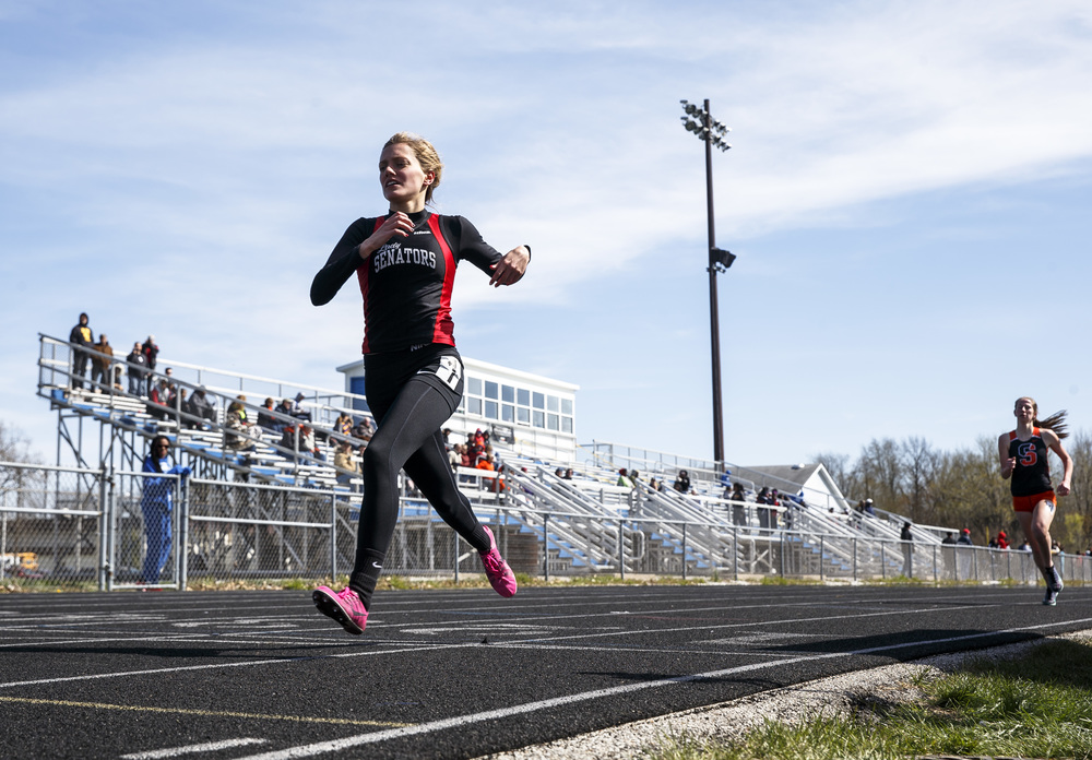Springfield's Aly Goff takes home the win in the 1600m Run with a time of 5:20.58 during the Thomas McBride Invitational track and field meet at Southeast High School , Saturday, April 9, 2016, in Springfield, Ill. Justin L. Fowler/The State Journal-Register