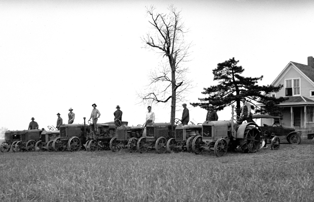 Farmers on tractors. Illinois State Journal/Register glass plate negative/Sangamon Valley Collection at Lincoln Library  C-98-693, neg# 986 VF 2000-64  Pub. ISJ April 21, 1931