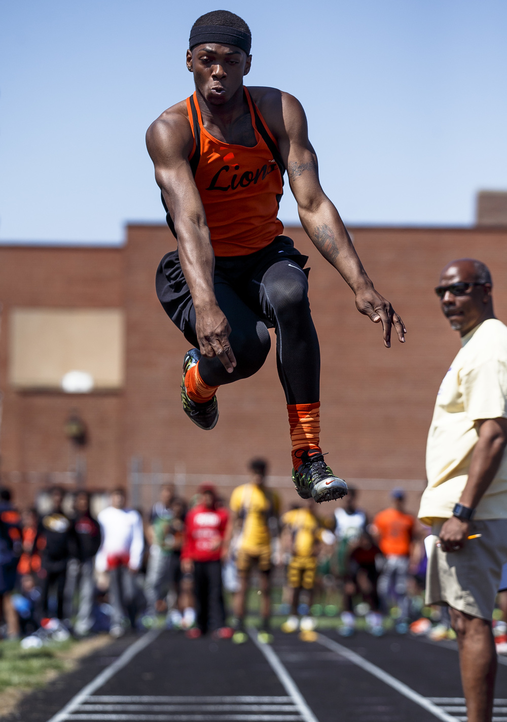 Lanphier's Rudy Ester finished 3rd in the Long Jump with a jump of 21-01.25 during the Capital City Classic track and field meet at Memorial Stadium, Saturday, April 16, 2016, in Springfield, Ill. Justin L. Fowler/The State Journal-Register