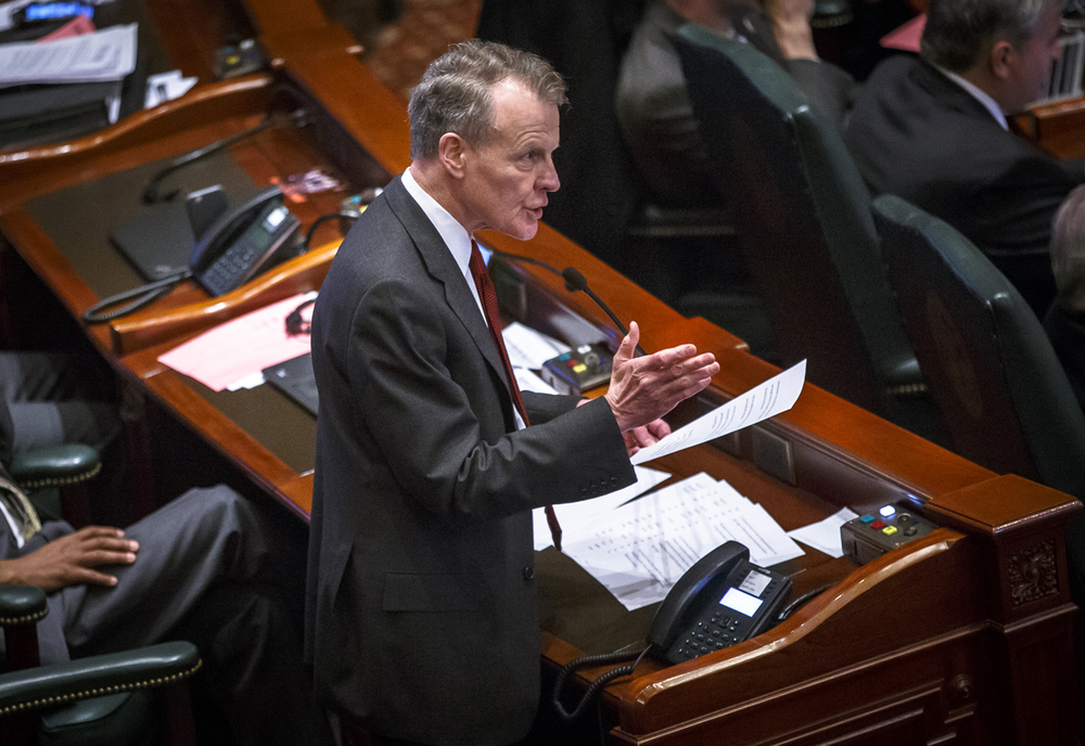Illinois Speaker of the House Michael Madigan, D-Chicago, says that compromise with Gov. Bruce Rauner on the budget has been difficult to achieve for the last 13 months while giving a speech on the House floor at the Illinois State Capitol, Tuesday, April 12, 2016, in Springfield, Ill. Justin L. Fowler/The State Journal-Register