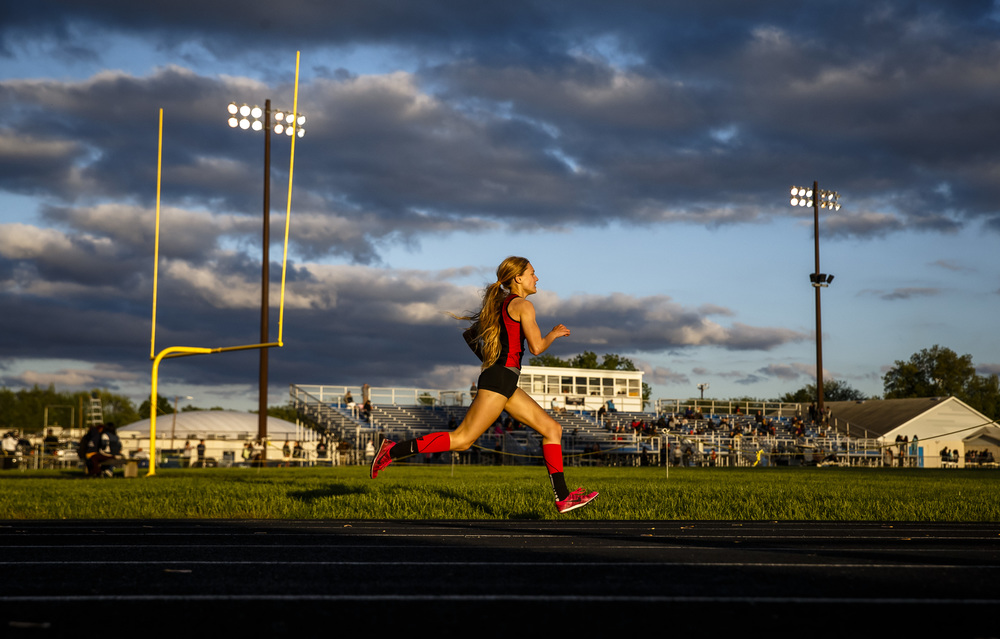 Springfield's Aly Goff opens a commanding lead on the final lap of the 800m Run to take the victory for the Senators during the Girls City track and field meet at Southeast High School, Thursday, April 28, 2016, in Springfield, Ill. Justin L. Fowler/The State Journal-Register