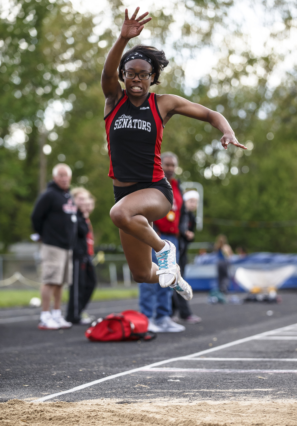 Springfield's Chieme Udaku broke the school triple jump record with a winning leap of 35-7 during the Girls City track and field meet at Southeast High School, Thursday, April 28, 2016, in Springfield, Ill. Justin L. Fowler/The State Journal-Register