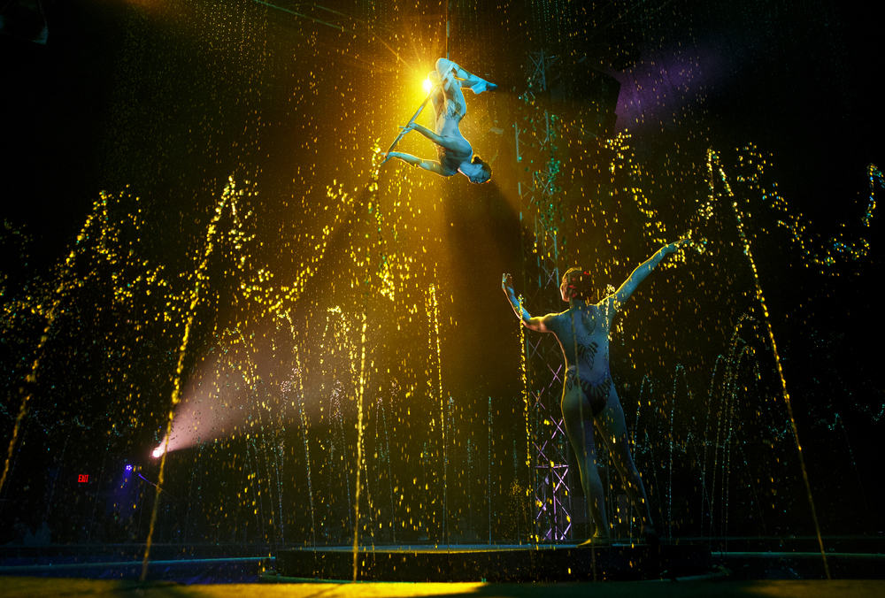 "Sierra Cole and Jennifer Schlitt perform their routine during an afternoon performance of ""Aquatic Spectacular"" by the Cirque Italia Sunday, May 1, 2016. The travelling show features a 35,000 gallon water stage, colorful water curtain and dancing fountains. Ted Schurter/The State Journal-Register"